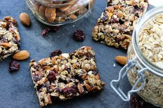 Dark Chocolate Cherry Chia Almond Bars - similar to KIND bars and can easily be made vegan!