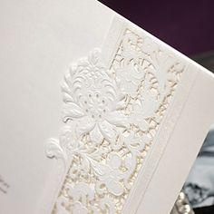 Fancy White Tri-Fold Floral Embossed Square Wedding Invitations, 100 pcs/lot  Folded,Tri-Fold,Envelope,Seal,Tri-Fold,Embossed,Floral,Square,White,  US$120.00