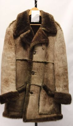 VINTAGE LAKELAND Men's Genuine 100% Wool Shearling Brown Size 44 Coat V60064 #Lakeland