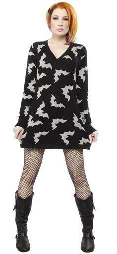 SOURPUSS BATTY SWEATER DRESS You are going to fall in love with this terror-ifically cute sweater dress the moment you put it on! Our soft, stretchy knitted dress will keep you cozy and warm and accentuate all of your best assets! $54.00 #sourpuss #sourpussclothing #sweaterdress #bats