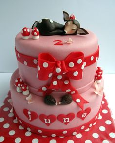 Little Deer On A Cake The mother of the birthday girl asked for a cake with mushrooms in red with white spots. Cupcake Art, Cupcake Cakes, Cupcakes, Baby Birthday Cakes, Girl Birthday, Extreme Cakes, Deer Cakes, Amazing Cakes, Beautiful Cakes