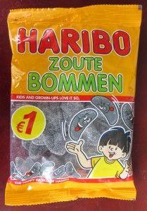 Haribo zoute bommen drop, vegan, zonder gelatine en bijenwas