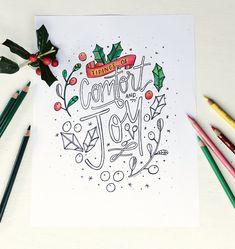 printable coloring page, comfort and joy, recipeforcrazy.com #adultcoloring #coloringdownload