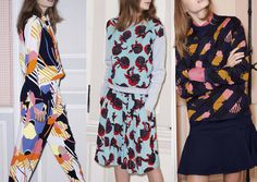 Pre Autumn/Winter 2014/15 Final Print Highlights catwalks - Stencilled and Cut-out Looks – Floral Pattern Patchwork – Flat Colour Simplicity – Print Error Plays – Shadowed Imagery – Stripe Over-print