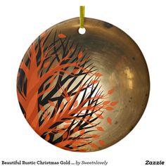 Beautiful Rustic Christmas Gold Ornament