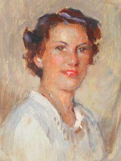 Estate-Early-20c-Nikolai-Becker-Oil-Painting-Mini-Portrait-Study-Brunette-Woman