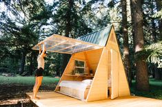 Check out this Hipcamp in Oregon: Star A-Frame Tiny Cabin, Cedar Bloom - Located right off the 199 Redwood Highway, we welcome you to our forest sanctuary. These tiny A-Frame cabins are our newest addition to the land. Tiny Cabins, Tiny House Cabin, Tiny House Design, A Frame Cabin, A Frame House, Casa Hotel, Outdoor Living, Outdoor Decor, Building Plans