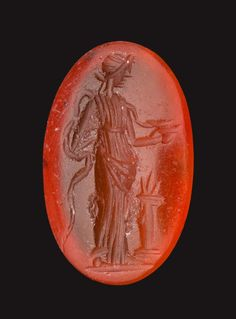 Oval gem with Hygeia feeding a serpent | Museum of Fine Arts, Boston