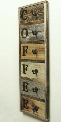 Vertical Barnwood Coffee Mug Rack Wall Mounted, Wooden Hanging Cup Holder, Kitchen Storage for Display. Organizer Hooks, X - Vertical Barnwood Coffee Mug Rack Wall-Mount Coffee Cup Holder - Arte Pallet, Diy Pallet, Pallet Crafts, Diy Crafts, Decor Crafts, Palette Diy, Mug Rack, Diy Holz, Diy Wood Projects