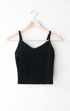 e43680daadd470 Description Details  Velvet cami crop top in black with v-neck front and