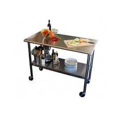 Kitchen Stainless Steel Cart Rolling Butcher Block Shelf Storage Chef Table New