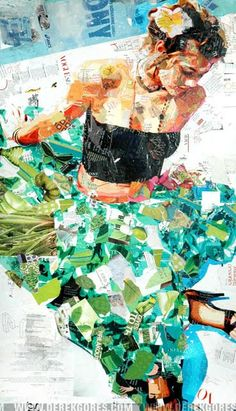 Collage portrait by Derek Gores. He recycles magazines and found materials to create his works.