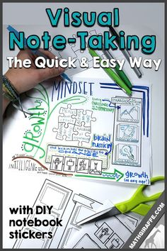 "Making Interactive Notebooks Easy - Visual Note Taking with ""doodle note"" stickers! Math Games For Kids, Fun Math Activities, Teaching Secondary, Secondary Math, Math Notebooks, Interactive Notebooks, Division, Brain Based Learning, Visual Learning"