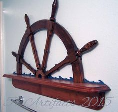 Check out Handcrafted Wood SHIP'S WHEEL SHELF - Detailed with Waves and Hammered Copper - Finished in Cherry/Red Mahogany Wood Stains & Indigo waves on 57artifacts Mahogany Wood Stain, Ship Wheel, Hammered Copper, Cherry Red, Great Rooms, Kids Bedroom, Gain, Indigo, Nautical