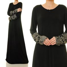 Classic Black Jersey Floral Laced Sleeves by Tailored2Modesty