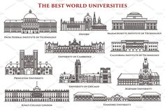 Set of thin line education real buildings. Swiss federal and Massachusetts, California institute of technology, Stanford and Harvard, Chicago university, King's College in London. Study and graduation Cambridge College, King's College London, Cambridge University, University College London, University University, Massachusetts Institute Of Technology, London Places, Education College, Worlds Of Fun