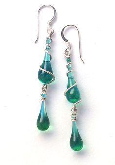 Blue-green dangling glass earrings  ||  Sundrop Jewelry
