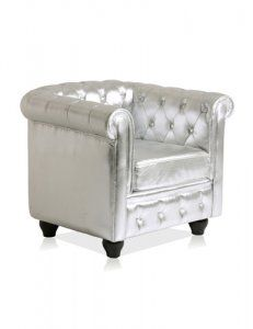 Merveilleux Chesterfield Armchair In Metallic Silver Leather