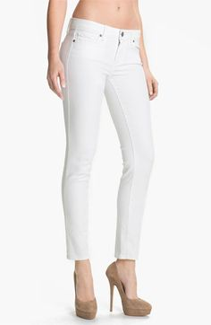 A great pair of white jeans.  ex. Paige Denim 'Skyline' Ankle Peg Skinny Jeans (Optic White) | Nordstrom
