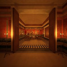 VILLA OF THE MYSTERIES in Pompeii in Italy — view into the triclinium at night