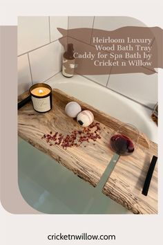 Heirloom quality luxury spa bath caddy with wine tumbler holder, perfect for the pampered lady! See our entire collection of spa gifts at www.cricketnwillow.com Bath Tray Caddy, Bathtub Caddy, Wood Bath Tray, Wooden Bath, Luxury Spa, Luxury Bath, Spa Items, Wine Glass Holder, Wood Detail