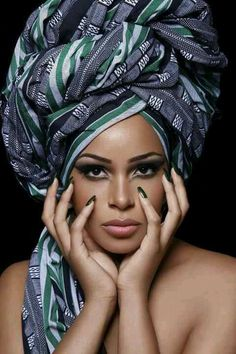 Cool headdress & makeup - African inspired. Grey, green, black and white stripes.