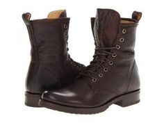 Frye Veronica Combat (Dark Brown Soft Vintage Leather) Women's Lace-up Boots