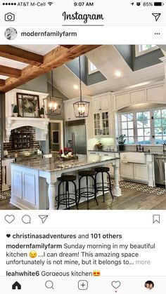Even without the beams this kitchen is stunning. Would want a marble backsplash or something with geometric pattern.