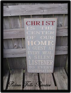 Black Friday Etsy Sale...Primitive Country Christ Is The Center Of Our Home Typography Wood Sign Wall Decor. $80.00, via Etsy.