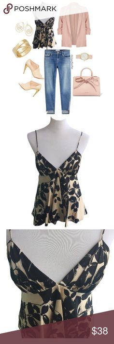 "Milly New York Silk Camisole MILLY of New York Camisole •100% Silk •Spaghetti Straps •Gold/Black Floral Print •100% Fully Lined •Size 6 •Lining: 100% Polyester  •Approx 13.5"" Armpit to Armpit Laying Flat •Approx 26"" From Shoulder to Bottom Hem Milly of New York Tops Camisoles"