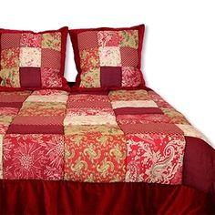 Boutis Splendide rouge -Boutis/Couvre-lit - L'armoire de Caroline