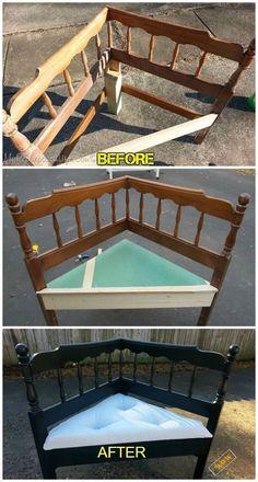 DIY Headboard Corner Bench Tutorial #CustomWoodworkingBench #WoodworkingProjects