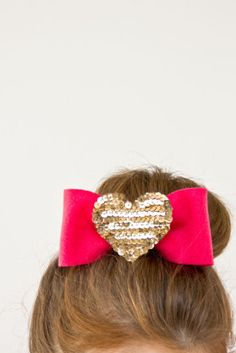 #DIY #Sequin Heart Hair #Bows