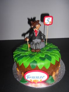 Efteling Sprookjesboom thema Taart met de Wolf. Efteling Amusementpark themed   cake with the big bad Wolf of Little Red Riding Hood, fairytale