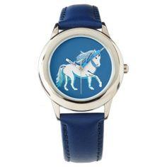 Blue and White Unicorn Wristwatch; Abigail Davidson Art; ArtisanAbigail at Zazzle