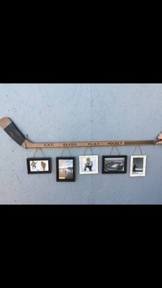 Retro Hockey Stick with 5 Hanging Frames.They had this for sale in Kenora when … Retro Hockey Stick with 5 Diy Projects For Bedroom, Diy Projects For Men, Diy For Men, Project Projects, Hockey Crafts, Hockey Decor, Boy Room, Kids Room, Hockey Party
