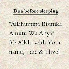 Dua (prayer) before sleeping
