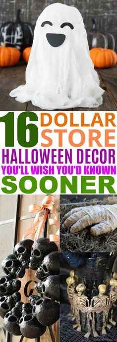 16 Dollar Store Halloween Decor DIY Ideas That Look Expensiv.- 16 Dollar Store Halloween Decor DIY Ideas That Look Expensive These 16 Dollar Store DIY Halloween Decor Ideas Are So CREATIVE! I love how many cute things I can make on the cheap! Soirée Halloween, Creepy Halloween Decorations, Dollar Store Halloween, Halloween Projects, Holidays Halloween, Diy Projects, Halloween Decorating Ideas, Dollar Tree Halloween Decor, Halloween Camping