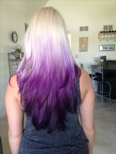 Purple Ombré with Blond, dramatic transition