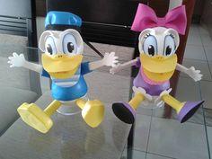 Como fazer o Pato Donald em eva 3D, pato donald en foami,goma eva,microp...