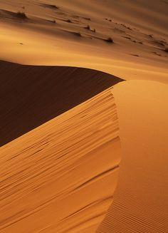 Sunrise and shadow on sand dunes at Merzouga, Morocco - #morocco #sahara #desert Maroc Désert Expérience tours http://www.marocdesertexperience.com