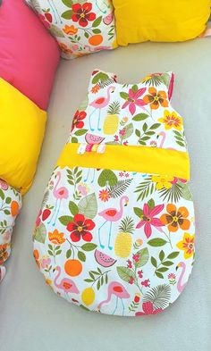 Baby bed set: sleeping bag and bed pillows - pink flamingos theme, tropical - Baby bed set: sl Baby Girl Bedding, Baby Bedding Sets, Sleeping Bag, Pink Flamingos, Baby Sewing, Bed Pillows, Tropical, Kids, Claire