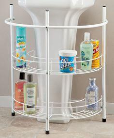 Storage solution for under pedestal sink.