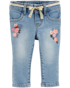 Baby Girl Floral Pull-On Jeans | OshKosh.com