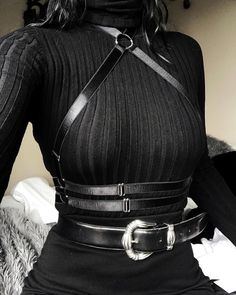 dark fashion its been a struggle to not incorporate this chaostheorynyc harness into every outfit Egirl Fashion, Dark Fashion, Gothic Fashion, Fashion Outfits, Fashion Design, Grunge Fashion, Aesthetic Grunge Outfit, Aesthetic Clothes, Black Aesthetic Fashion