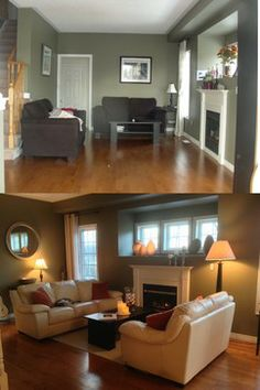 This home sold at the 1st open house above asking after being staged. The furniture was too dark for the wall color. We switched out the furniture from the living room and rearranged the furniture as a conversation area rather than block the walk through to the adjoining room.