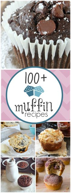 100+ Muffin Recipes | #Desserts #Snacks #Breakfast #Portable #ComfortFood #Muffins #Lists #Vegetarian #ToMake