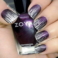 .@naildecor | #NOTD: white and silver glitter stripes over Zoya's Valerie topped with Hard ... | Webstagram - the best Instagram viewer