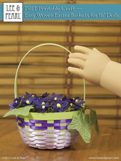 """Now even 18"""" dolls like our American Girl can celebrate Easter morning with these easy-to-make, cuter-than-cute doll sized baskets. Download Lee & Pearl's FREE Printable Craft: Easter Baskets for 18"""" Dolls in the March 2015 Newsletter (at www.leeandpearl.com)"""