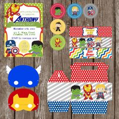 Avengers Party Kit  Invitation Water by HilltopCustomDesigns, $19.99